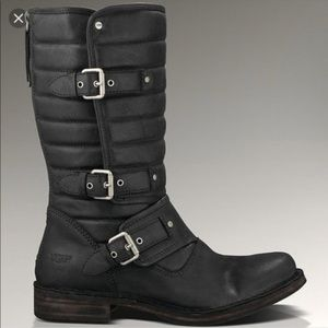 Ugg Tatum black leather moto boot size 8